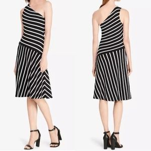 Lauren Ralph Lauren Black White Striped Dress Sz L